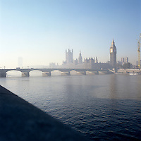 The Houses of Parliament from the South Bank, fading into the morning fog