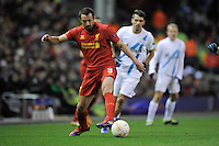 21.02.2013 Liverpool, England. Jose Enrique of Liverpool in action during the Europa League game between Liverpool and Zenit St Petersburg from Anfield.