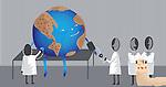 Team of medical doctors examining planet earth depicting environmental conversation