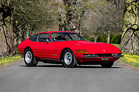 BNPS.co.uk (01202) 558833. <br /> Pic: SilverstoneAuctions/BNPS<br /> <br /> A classic Ferrari that Elton John bought following the success of Goodbye Yellow Brick Road has emerged for sale at auction for £500,000<br /> <br /> The 365 GTB/4 Daytona was bought from new by the iconic performer in 1973 - the same year as his legendary album topped the charts.<br /> <br /> It was delivered to his luxury home in Wentworth, Surrey and joined his already impressive fleet of high end performance cars.