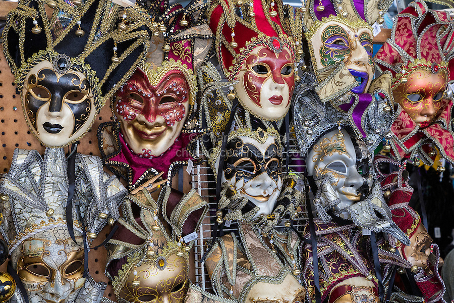 French Quarter, New Orleans, Louisiana.  Mardi Gras masks for Sale in the French Market.