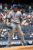 Texas Rangers pitcher C.J. Wilson #36 during a game against the New York Yankees at Yankee Stadium on June 16, 2011 in Bronx, NY.  Yankees defeated Rangers 3-2.  Tomasso DeRosa/Four Seam Images