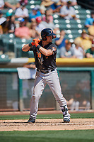 J.D. Davis (26) of the Fresno Grizzlies bats against the Salt Lake Bees at Smith's Ballpark on September 3, 2018 in Salt Lake City, Utah. The Grizzlies defeated the Bees 7-6. (Stephen Smith/Four Seam Images)