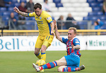 Inverness Caley Thistle v St Johnstone…27.08.16..  Tulloch Stadium  SPFL<br />Danny Swanson is tackled by Carl Tremarco<br />Picture by Graeme Hart.<br />Copyright Perthshire Picture Agency<br />Tel: 01738 623350  Mobile: 07990 594431