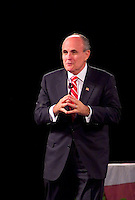 Former New York City Mayor Rudy Giuliani speaking lecture to large crowd during Motivational Seminar from Peter Lowe FOR EDITORIAL ONL