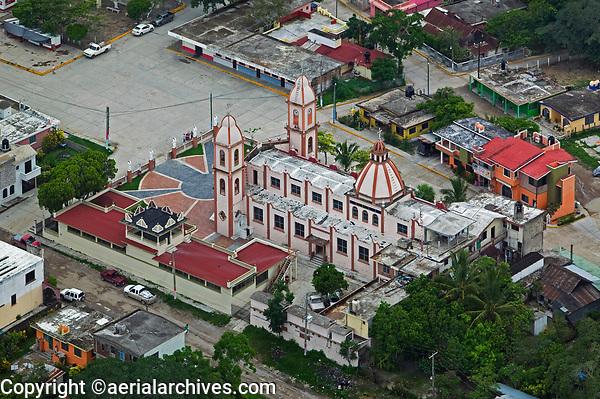 aerial photograph of a church in Veracruz, Mexico