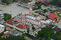 aerial photograph of a church in Veracruz, Mexico