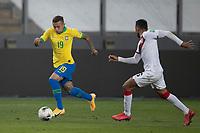 13th October 2020; National Stadium of Peru, Lima, Peru; FIFA World Cup 2022 qualifying; Peru versus Brazil;  Christofer Gonzáles of Peru beaten by the run from Everton of Brazil