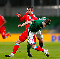 27th March 2021; Aviva Stadium, Dublin, Leinster, Ireland; 2022 World Cup Qualifier, Ireland versus Luxembourg; Danel Sinani of Luxembourg challenges for the ball with James Collins of Ireland
