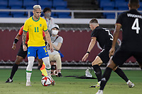 22nd July 2021; Stadium Yokohama, Yokohama, Japan; Tokyo 2020 Olympic Games, Brazil versus Germany; Antony of Brazil on the ball covered by Raum of Germany