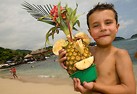 Kids of all ages love the cleverly creative drinks served in the restaurants on Ixtapa Island. The island is accessible only by boat and has no electricity (or overnight accommodations). It's a favorite designation for dining alfresco on fresh-caught seafood, hiking for scenic views as well as swimming, snorkeling and scuba diving. PHOTOS BY: PATRICK SCHNEIDER PHOTO.COM..Have model releases