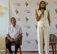 RIO GRANDE, PUERTO RICO: L-R: Governor of Puerto Rico, Mr. Pedro Pierluisi with the star of the new FOX drama FANTASY ISLAND, Roselyn Sanchez on set at a press conference highlighting local Puerto Rico production. (Photo by Laura Magruder/FOX/PictureGroup).  © 2021 FOX MEDIA LLC.