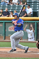 Michael Choice (20) of the Round Rock Express at bat against the Salt Lake Bees in Pacific Coast League action at Smith's Ballpark on August 21, 2014 in Salt Lake City, Utah.  (Stephen Smith/Four Seam Images)