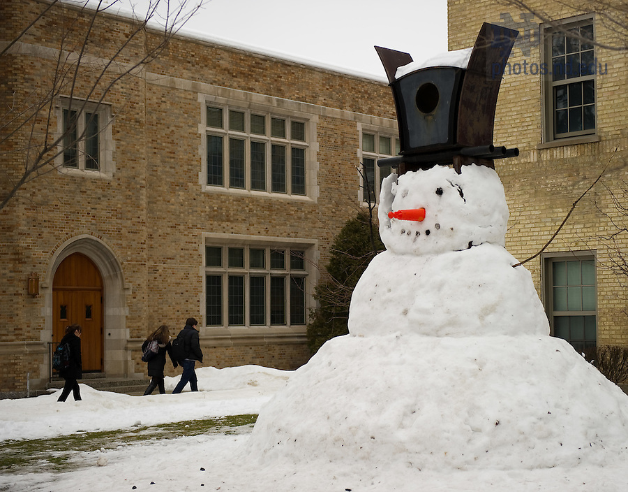 Jan. 18, 2011; Snowman outside of Riley Hall..Photo by Matt Cashore/University of Notre Dame