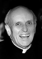 Father Robert F. Drinan received the Frank Manning award from Massachusetts Association of Older Americans at the World Trade Center Boston MA May 12, 1990