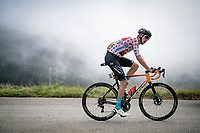 polka dot jersey / KOM leader Wout Poels (NED/Bahrain-Victorious) in the final kilometers up the final climb of the day; the Col du Portet (HC/2215m)<br /> <br /> Stage 17 from Muret to Saint-Lary-Soulan (Col du Portet)(178km)<br /> 108th Tour de France 2021 (2.UWT)<br /> <br /> ©kramon
