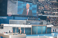 Vice President Joe Biden speaks at the Democratic National Convention at the Wells Fargo Center in Philadelphia, Pennsylvania, on Wed., July 27, 2016.