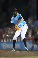 Inland Empire 66ers relief pitcher Samil De Los Santos (16) in action against the Stockton Ports at San Manuel Stadium on July 6, 2017 in San Bernardino, California. The Ports defeated the 66ers 7-6.  (Brian Westerholt/Four Seam Images)