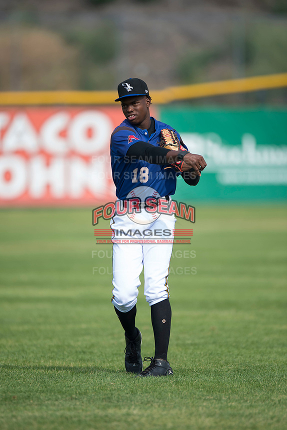 Missoula Osprey outfielder Kristian Robinson (18) warms up before a Pioneer League game against the Orem Owlz at Ogren Park Allegiance Field on August 19, 2018 in Missoula, Montana. The Missoula Osprey defeated the Orem Owlz by a score of 8-0. (Zachary Lucy/Four Seam Images)