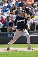 Milwaukee Brewers first baseman Cory Hart #1 reaches for a thrown ball during the Major League Baseball game against the Chicago White Sox on June 24, 2012 at US Cellular Field in Chicago, Illinois. The White Sox defeated the Brewers 1-0 in 10 innings. (Andrew Woolley/Four Seam Images).