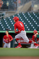 Palm Beach Cardinals right fielder Conner Capel (8) hits an infield single during a game against the Jupiter Hammerheads on August 4, 2018 at Roger Dean Chevrolet Stadium in Jupiter, Florida.  Palm Beach defeated Jupiter 7-6.  (Mike Janes/Four Seam Images)