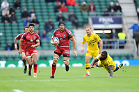Francois Cros of Toulouse accelerates past Dany Priso of La Rochelle during the Heineken Champions Cup Final match between La Rochelle and Toulouse at Twickenham Stadium on Saturday 22 May 2021 (Photo by Rob Munro/Stewart Communications)