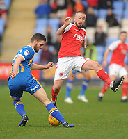 Fleetwood Town's Paddy Madden vies for possession with Shrewsbury Town's Luke Waterfall<br /> <br /> Photographer Kevin Barnes/CameraSport<br /> <br /> The EFL Sky Bet League One - Shrewsbury Town v Fleetwood Town - Tuesday 1st January 2019 - New Meadow - Shrewsbury<br /> <br /> World Copyright © 2019 CameraSport. All rights reserved. 43 Linden Ave. Countesthorpe. Leicester. England. LE8 5PG - Tel: +44 (0) 116 277 4147 - admin@camerasport.com - www.camerasport.com