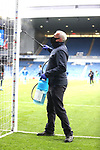 25.07.2020 Rangers v Coventry City: Disinfecting the goalposts at half time