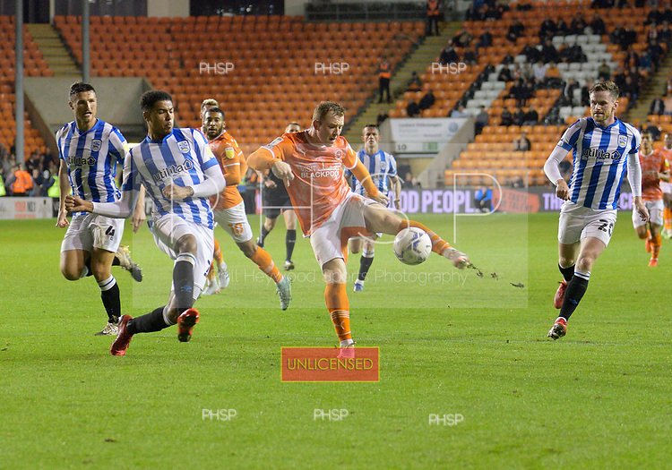 14/09/2021 Sky Bet Championship Blackpool v Huddersfield Town  <br /> <br /> Shane Lavery shot charged down