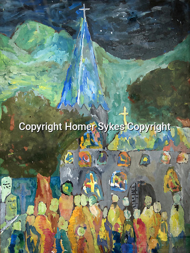 Homer Sykes painting at the Downs  School, Colwall, Hereford, aged 11yrs 1960. Art master James Lynch.
