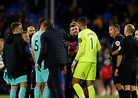 27th September 2021;  Selhurst Park, Crystal Palace, London, England; Premier League football, Crystal Palace versus Brighton & Hove Albion: Crystal Palace Manager Patrick Vieria pulls away James McArthur of Crystal Palace after tussling with Goalkeeper Robert Sanchez of Brighton & Hove Albion