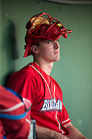 Austin Bossart (17) of the Lakewood BlueClaws watches from the dugout during the game against the Kannapolis Intimidators at Kannapolis Intimidators Stadium on May 10, 2016 in Kannapolis, North Carolina.  The BlueClaws defeated the Intimidators 5-3.  (Brian Westerholt/Four Seam Images)
