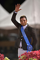 WELLINGTION, FL - FEBRUARY 10: Seen here Daniel Bluman at the Saturday Night Lights. Daniel Bluman (ISR) and Ladriano Z, owned by Over The Top Stables LLC, rose to the top of the class in the 384,000 Fidelity Investments Grand Prix, Beat Mändli was second and Cian O'Connor was third on February 10, 2018  in Wellington, Florida.<br /> <br /> People:  Daniel Bluman
