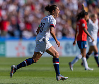 PARIS,  - JUNE 16: Carli Lloyd #10 celebrates a goal during a game between Chile and USWNT at Parc des Princes on June 16, 2019 in Paris, France.