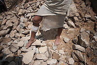 A man walks on his destroyed house. Outskirt of Kathmandu, Nepal. May 11, 2015