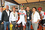 Rui Costa (POR) UAE Team Emirates mingles with guests including Ludovic Turpin in the Tour Village before Stage 3 of the 2019 Tour de France running 215km from Binche, Belgium to Epernay, France. 8th July 2019.<br /> Picture: ASO/Olivier Chabe | Cyclefile<br /> All photos usage must carry mandatory copyright credit (© Cyclefile | ASO/Olivier Chabe)