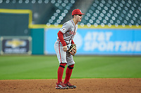 Hayden Cantrelle (5) of the Louisiana Ragin' Cajuns on defense against the Kentucky Wildcats in game seven of the 2018 Shriners Hospitals for Children College Classic at Minute Maid Park on March 4, 2018 in Houston, Texas.  The Wildcats defeated the Ragin' Cajuns 10-4. (Brian Westerholt/Four Seam Images)