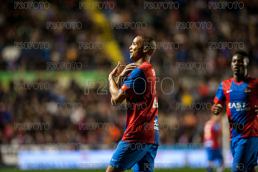 VALENCIA, SPAIN - MARCH 2: Deyverson celebrating his goal during BBVA League match between VLevante U.D. and R. Madrid at Ciudad de Valencia Stadium on March 2, 2015 in Valencia, Spain