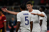 Benjamin Pavard of France and Jules Kounde of France  during the Uefa Nations League final football match between Spain and France at San Siro stadium in Milano (Italy), October 10th, 2021. Photo Andrea Staccioli / Insidefoto