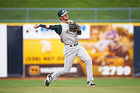 Fort Wayne TinCaps second baseman Chase Jensen (24) throws to first during a game against the Lake County Captains on May 20, 2015 at Classic Park in Eastlake, Ohio.  Lake County defeated Fort Wayne 4-3.  (Mike Janes/Four Seam Images)