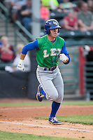 Ben Johnson (6) of the Lexington Legends hustles down the first base line against the Hickory Crawdads at L.P. Frans Stadium on April 29, 2016 in Hickory, North Carolina.  The Crawdads defeated the Legends 6-2.  (Brian Westerholt/Four Seam Images)