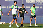 Getafe CF's coach Quique Sanchez Flores with Enes Unal and Juan Antonio Iglesias during training session. October 6,2021.(ALTERPHOTOS/Acero)