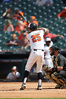 Jordan Cannon (25) of the Sam Houston State Bearkats at bat against the Vanderbilt Commodores in game one of the 2018 Shriners Hospitals for Children College Classic at Minute Maid Park on March 2, 2018 in Houston, Texas. The Bearkats walked-off the Commodores 7-6 in 10 innings.   (Brian Westerholt/Four Seam Images)