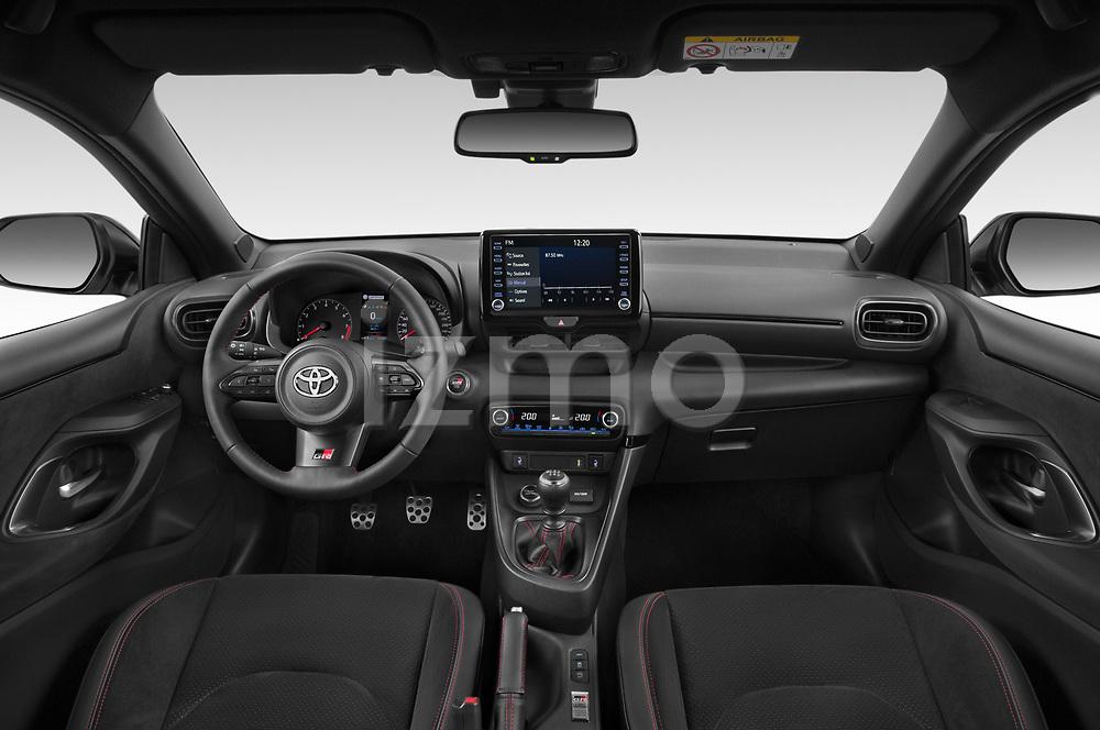 Stock photo of straight dashboard view of 2021 Toyota Yaris GR 3 Door Hatchback Dashboard