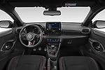 Stock photo of straight dashboard view of 2021 Toyota Yaris GR 3 Door Hatchback Dashboard