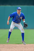 Third baseman Zachary Gahagan (9) of North Henderson High School in Fletcher, North Carolina playing for the Toronto Blue Jays scout team during the East Coast Pro Showcase on August 1, 2013 at NBT Bank Stadium in Syracuse, New York.  (Mike Janes/Four Seam Images)
