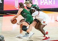 COLLEGE PARK, MD - DECEMBER 8: Stephanie Karcz #10 and Isabella Therien #13 of Loyola foil Ashley Owusu #15 of Maryland during a game between Loyola University and University of Maryland at Xfinity Center on December 8, 2019 in College Park, Maryland.