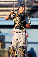 Connecticut Tigers catcher Eric Roof (50) during a double header vs. the Batavia Muckdogs at Dwyer Stadium in Batavia, New York July 10, 2010.  Connecticut dropped the first game 3-5 then defeated Batavia 8-1 in the night cap.  Photo By Mike Janes/Four Seam Images