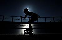 BARCELONA - ESPAÑA,  09-07-2019: Sang Woo de Corea, durante la prueba de 500 Metros más distancia Juvenil Varones, en el patinodromo Front Maritim en la ciudad de Barcelona en España, en el marco de los World Roller Games, Barcelona 2019. / Sang Woo from Korea, during the 500 metros plus distance Junior Men, in the Front Maritim skate in the city of Barcelona in Spain, within the World Rollers Games Barcelona 2019. / Photo: VizzorImage / Luis Ramírez / Staff.