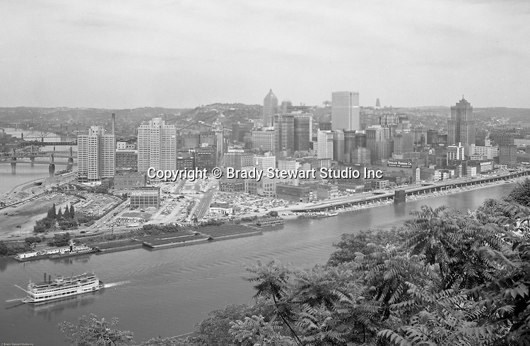 Pittsburgh PA - View of the city and the construction of Gateway Center from Mount Washington.